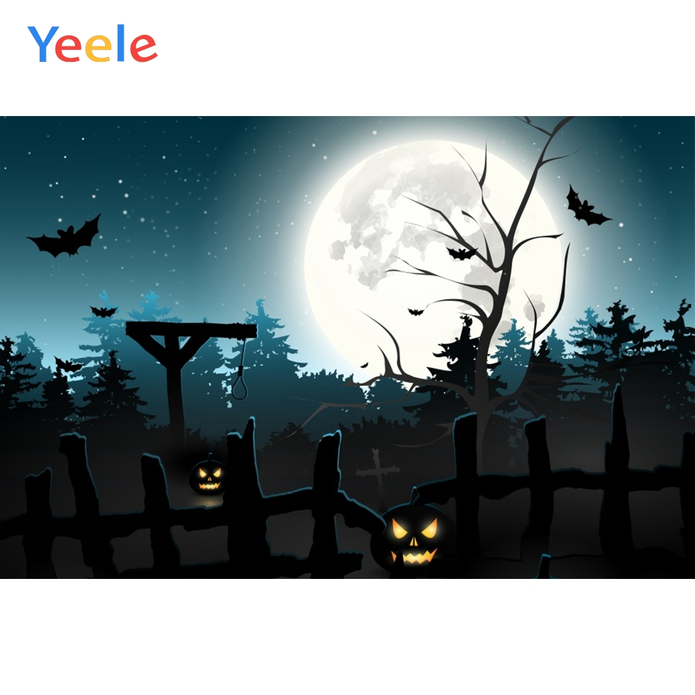 Yeele Halloween Moon Horror Fence PumPkin Lantern Photography Backdrops Personalized Photographic Backgrounds For Photo Studio in Background from Consumer Electronics