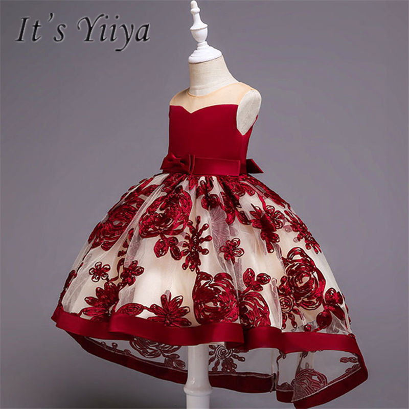 It's YiiYa   Flower     Girl     Dresses   4 Colors Court Train O-Neck Floor Length   Girls   Pageant   Dresses   Vestidos De Noches Para Ninas A607