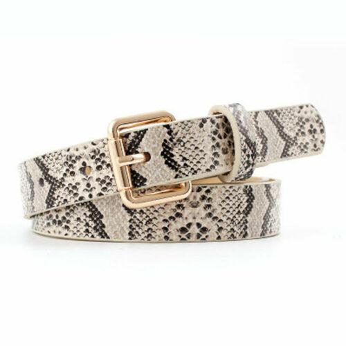 Hot Sale Stylish Snake PU Leather Pattern Dress Ladies Jeans   Belts   Women Fashion Gold Square Pin Buckle Waistband
