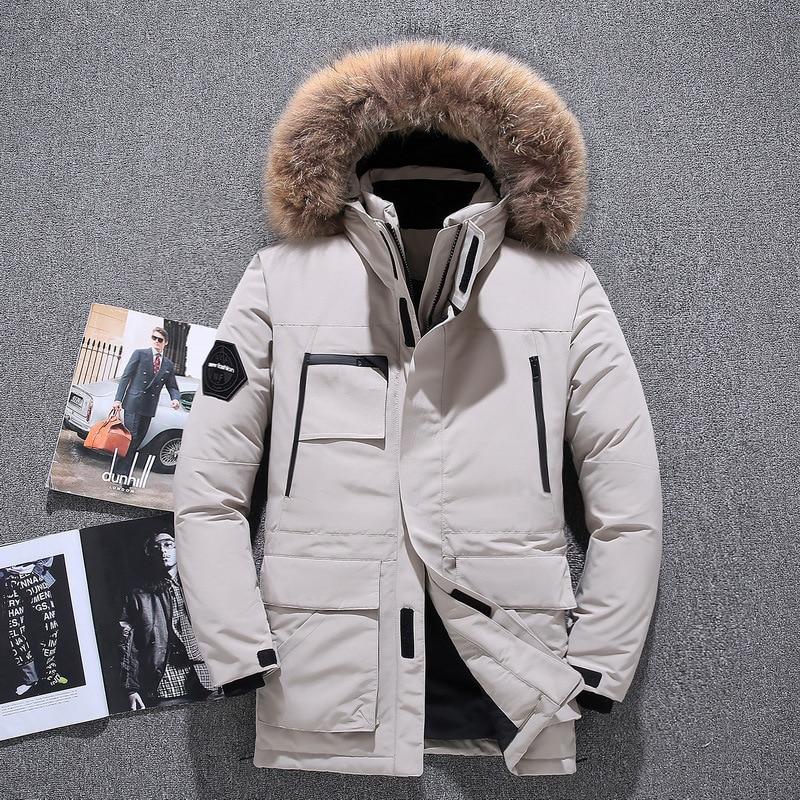 Coat Duck-Jacket Thicker White Winter Warm Male Fur-Collar Men