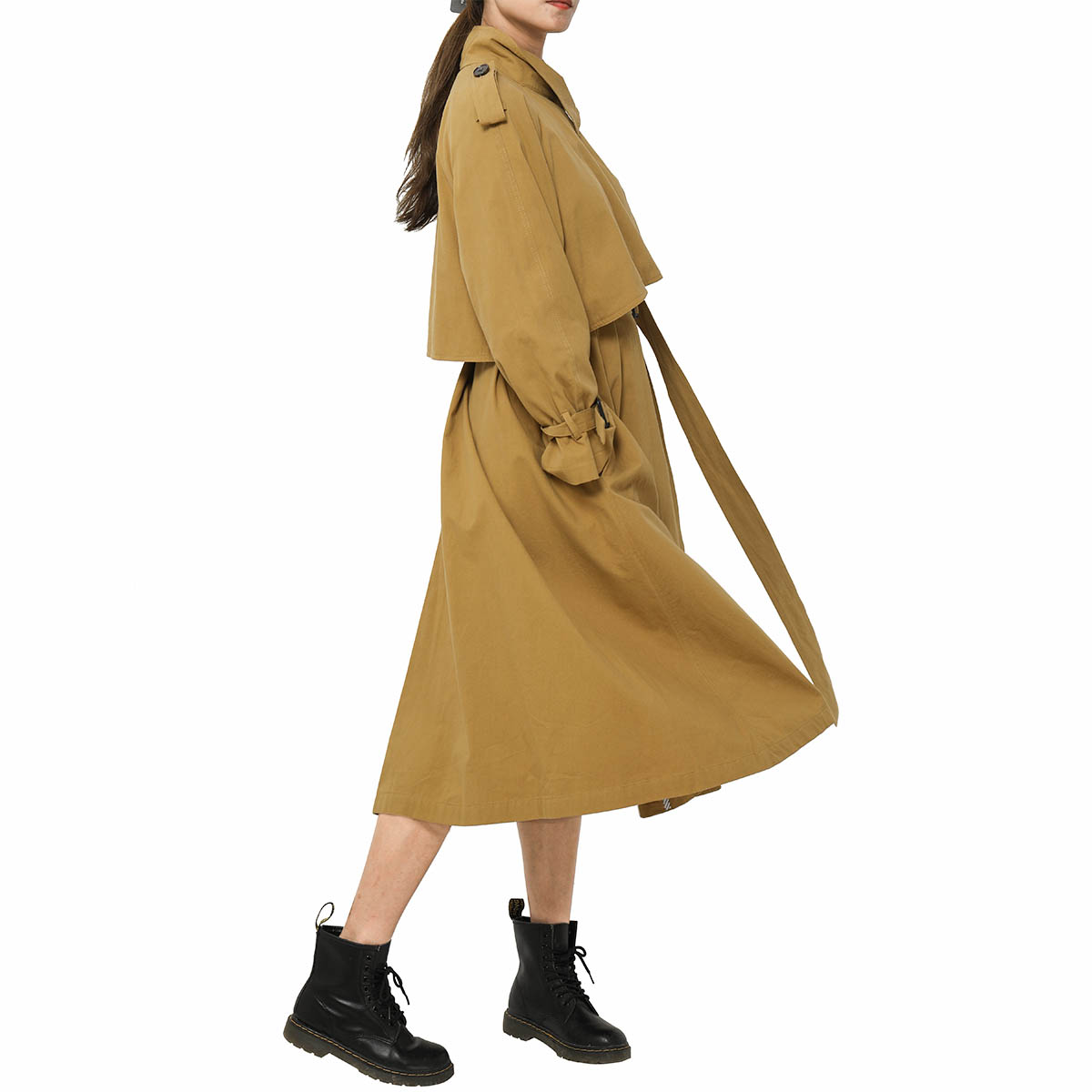 Succa Belted Cotton   Trench   Coat Long Sleeve Stand Collar Button Chic Long Windbreaker 2019 Autumn Women Casual Vintage Outerwear