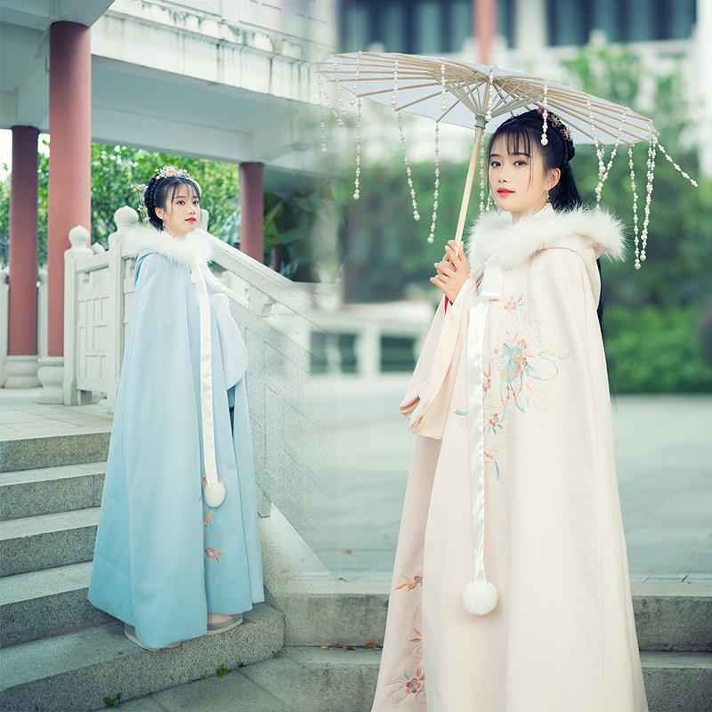 Chinese Traditional Tang Dynasty Ancient Princess Cloak For Women Embroidery Cloak Hanfu Coat Vintage Fairy Hooded Capes
