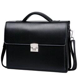 ¡Novedad de 2020! Maletín con cierre de contraseña para hombre, paquete Diagonal, bolso de cuero genuino para ordenador, bolso de mensajero de lujo, maleta