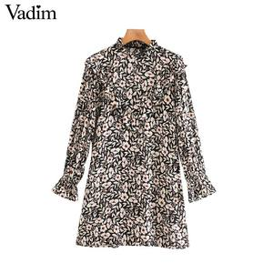 Image 1 - Vadim women chic floral pattern mini dress ruffles long bell sleeve straight female causal fashion dresses vestidos QD081