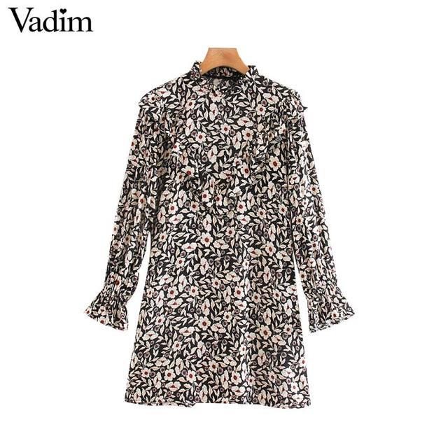Vadim women chic floral pattern mini dress ruffles long bell sleeve straight female causal fashion dresses vestidos QD081