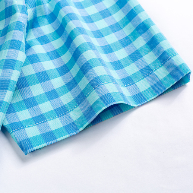 Plaid Checkered Short Sleeve Cotton Shirts 3