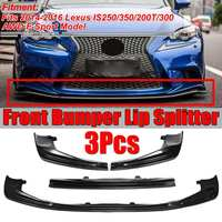 1Set Carbon Fiber Look Car Front Bumper Lip Splitter Lip Kit Diffuser Spoiler For Lexus IS250/350/200T/300 AWD F Sport 2014 2016