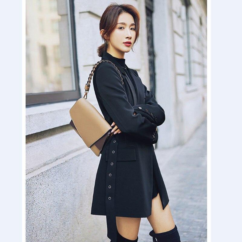 New Lace Up Waist Suit Women 2020 Spring Autumn Korean Loose Casual Mid-length Wild Suit Jacket Bandage Blazer Feminino F2805