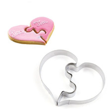 2 Pcs Heart Cookie Molds Left Right Heart Shaped Cookie Cutter Funny Love Wedding Puzzles Romantic Cookies Mold Biscuits Stamp