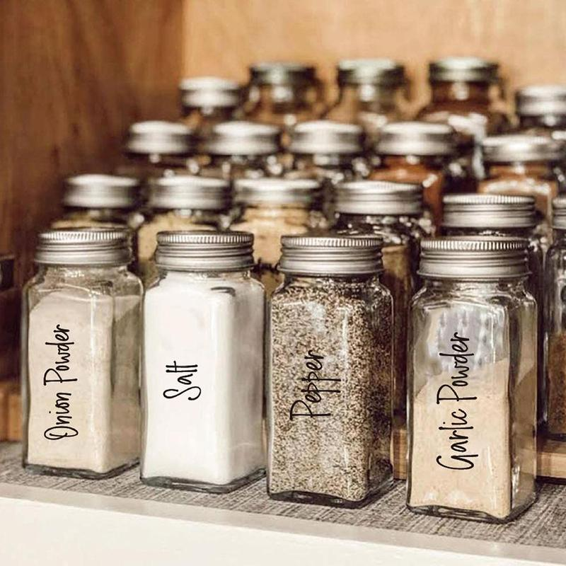 Waterproof Sticker Spice Jars Labels Labels Only Pantry Organization Grey /& White leaf wreath with Title