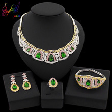 цена на Yulaili Water Drop Shape Green Opal Tri-color Pendant Necklace Earrings Bracelet Ring for Women Dubai Wedding  Jewelry Sets