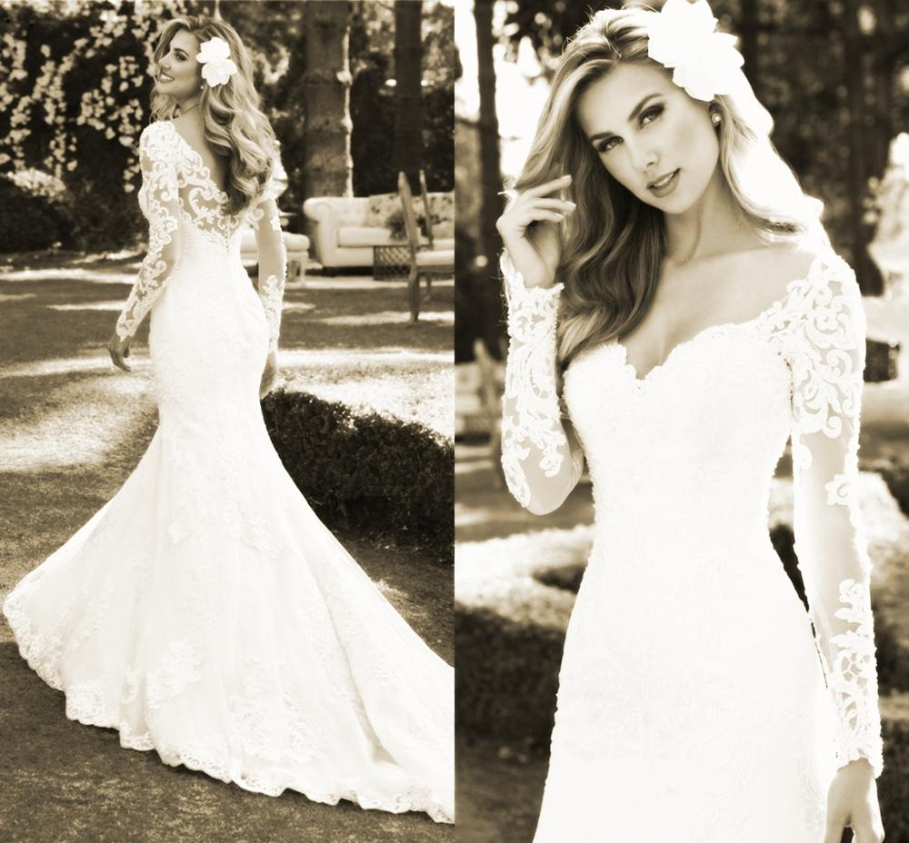 Sexy Lace Wedding Dress Mermaid Long Sleeve Lace Pearls Appliques Gorgesous 2020 New Design Bride Dresses Custom Made
