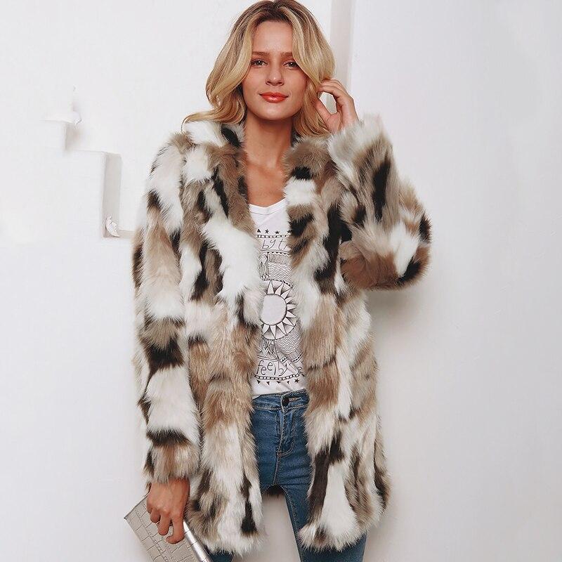 Womens Leopard Faux Fur Coat Vintage Warm Long Sleeve Parka Jacket Outwear Black