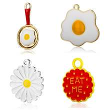 5pcs/lot DIY omelette Daisy Food Enamel Charm Pendants Wholesale Fashion Jewelry Making Charms Jewelry Finding Charms(China)