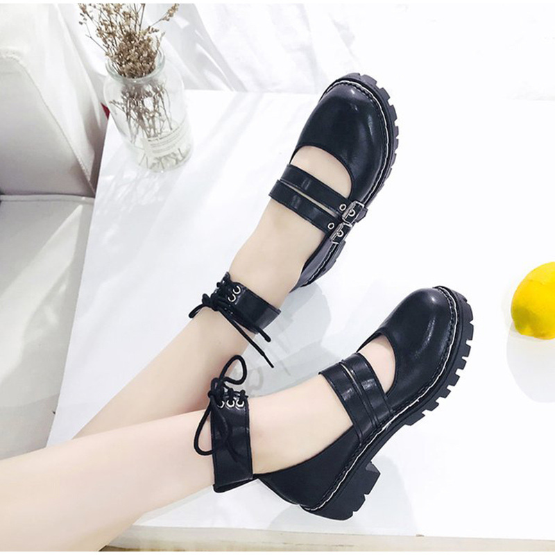 2020 Women New Spring Mary Janes Pumps Double Buckle Shallow Patent Leather Ladies Platform Mid Heels Fashion Girls Lolita Shoe
