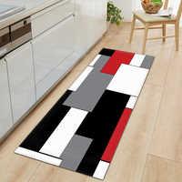 Felpudo de cocina moderno de tira larga para entrada del dormitorio, Felpudo con patrón 3D para decoración del suelo del hogar, alfombra antideslizante para el baño y la sala de estar