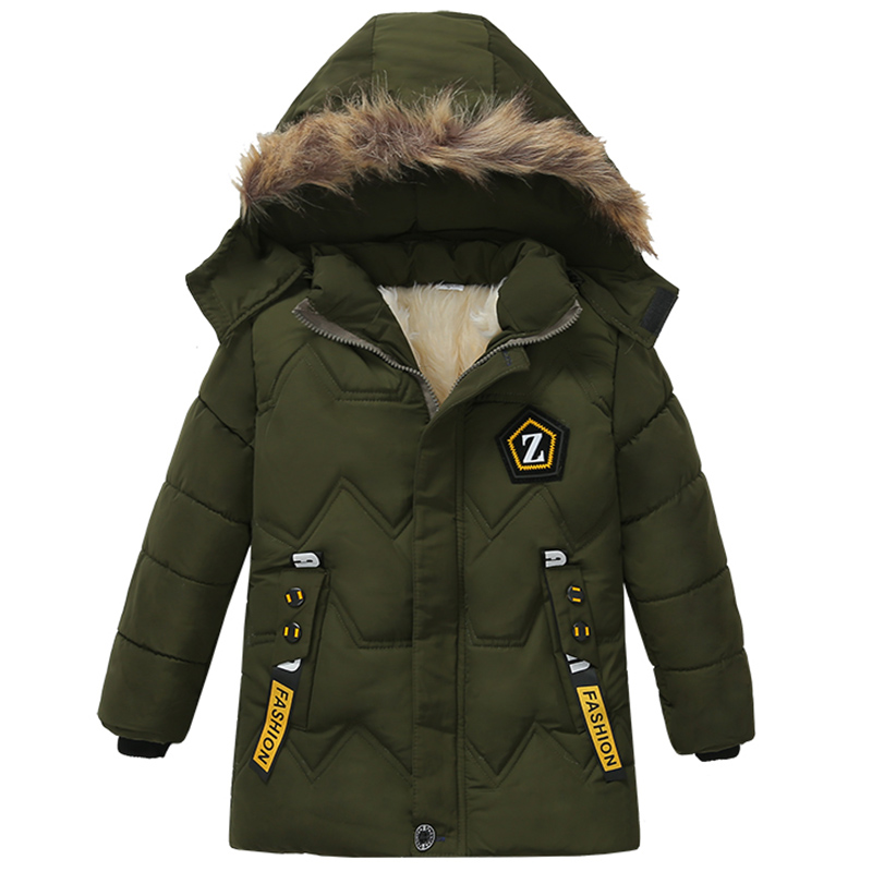 Fashion Boys Winter Hooded Jacket Cotton-padded Clothes Padded Children Clothing Boys Warm Winter Coat Kids Thickening Outerwear