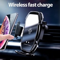 Suporte do telefone de carregamento do carro sem fio para o telefone móvel carregador rápido ventilação de ar montagem suporte do telefone automático sensor suporte do carro suportes