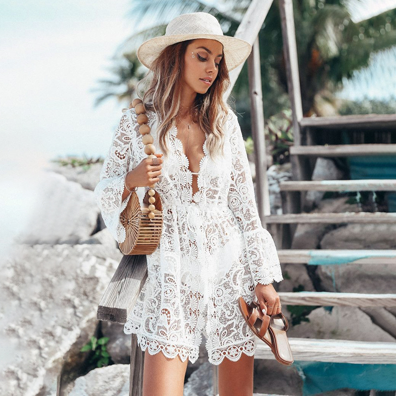 2020 Women Swimsuit Cover Up Sleeve Beach Tunic Dress Robe De Plage Solid White Cotton Pareo Beach High Collar Cover Up