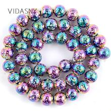 Natural Mineral Stone Rainbow Lave Hematite Beads For Jewelry Making 4 6 8 10mm Round Loose Diy Bracelet Necklace 15