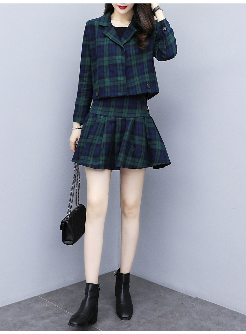 Fashion Women Plaid Skirt Suits Double-Breasted Notched Blazer Short Coat + Pleated Mini Skirts OL 2 Piece Outfits for Women