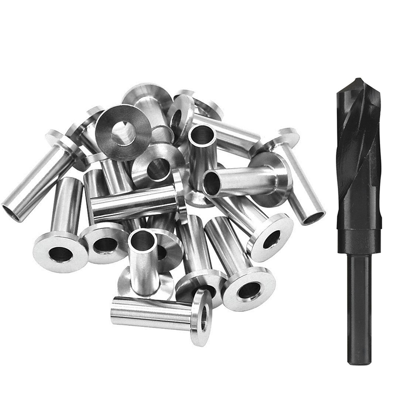 HHO-20PACK Stainless Steel Protector Sleeves For 1/8 Inch 5/32 Inch Or 3/16 Inch Cable Railing With A Drill Bit