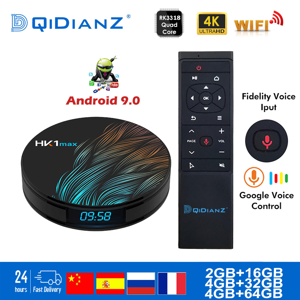 HK1MAX Smart Tv Box Android 9.0 2.4G/5G Wifi BT 4.0 RK Quad Core 4K 1080P Full HD Hk1 Max Set-Top Box Netflix KD Player