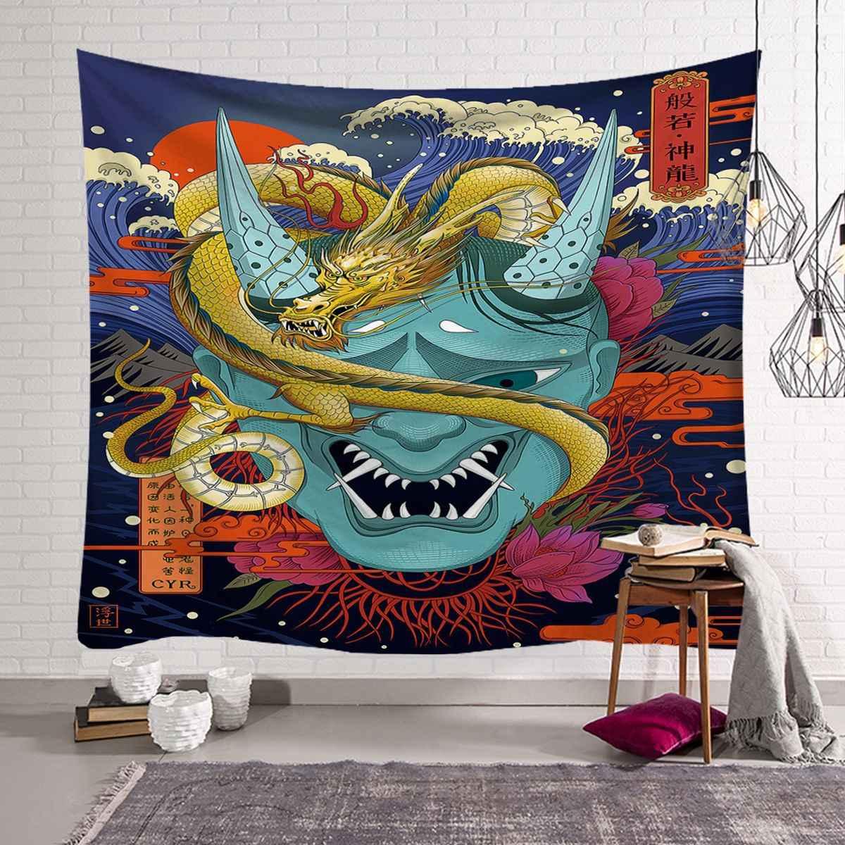 ญี่ปุ่นสิ่งทอแขวนผนังแขวนชายหาด Tapestries โพลีเอสเตอร์ผ้าสำหรับห้องผ้าห่ม Decor Wall Tapestry 200X150 ซม.