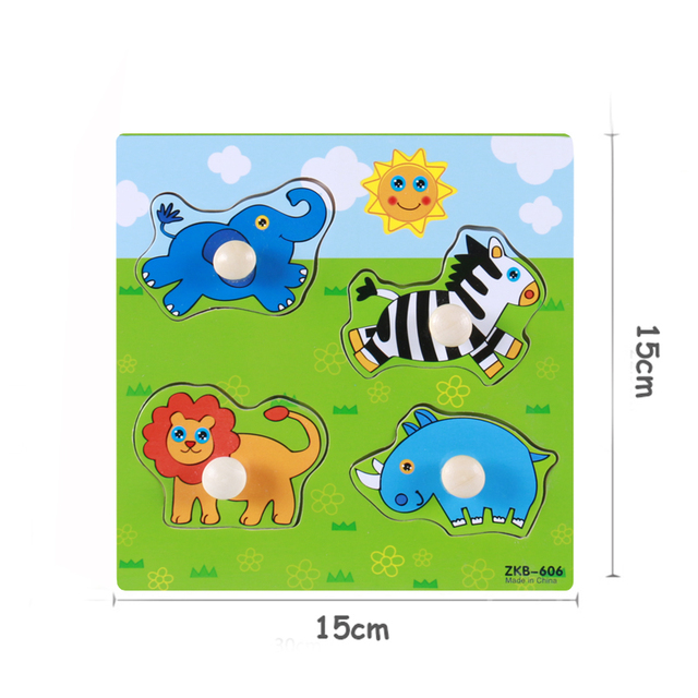 Kids Hand Grab Board 3D Puzzle Wooden Toys for Children Cartoon Animal Wood Jigsaw Toddler Baby Early Educational Learning Toy 5