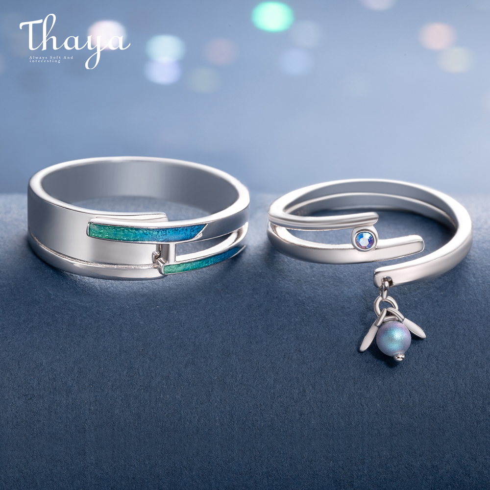 Thaya Midsummer Night's Dream Design Rings Fantastic Colored Pearls S925 Sterling Silver Jewelry Ring For Women Lovers Gift