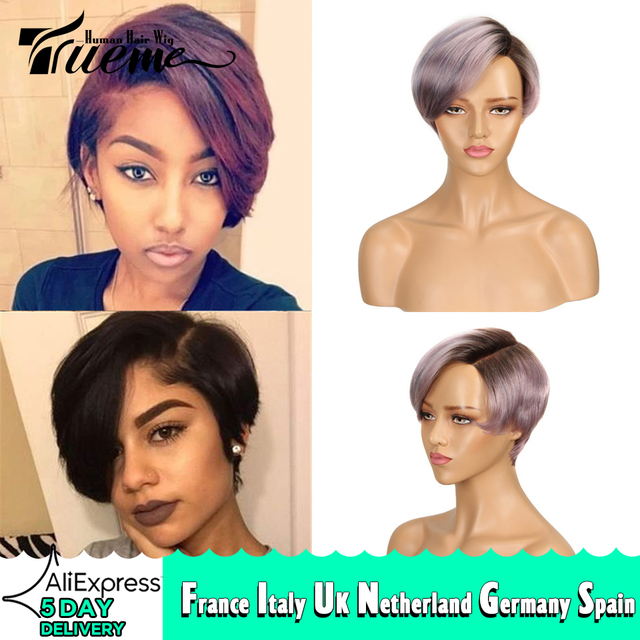 Trueme perruque coupe Pixie, coiffure sur dentelle avec partie courbée, court, couleur Ombre 613, blond, violet, rouge, 100% cheveux humains, brésilien