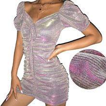 Women Short Bubble Sleeves Sexy Off Shoulder Mini Bodycon Dress Glitter Reflective Pleated Drawstring Ties Night Party Club Wear