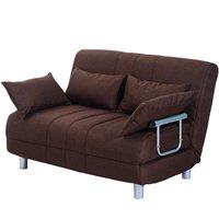Homcom sofá cama com 4 cuscina 2 em 1 aço inoxidável e tecido de poliéster marrom|  -