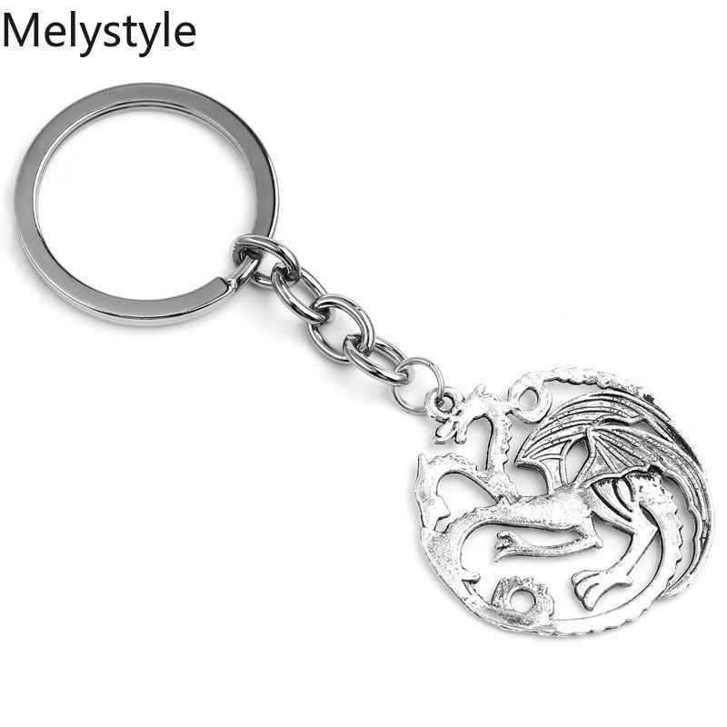 2019 Vintage Charm Game-brelok Dragon-Totem Alloy Key uchwyt pierścieniowy prezent dla mężczyzn kluczowe akcesoria samochodowe