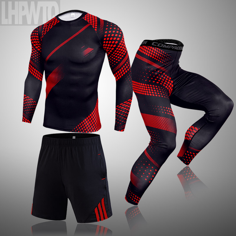 running - 3-piece set Compression Suits Men's Quick Dry set Clothes Sport Running MMA Joggers Gym Training Fitness Sportswear clothing