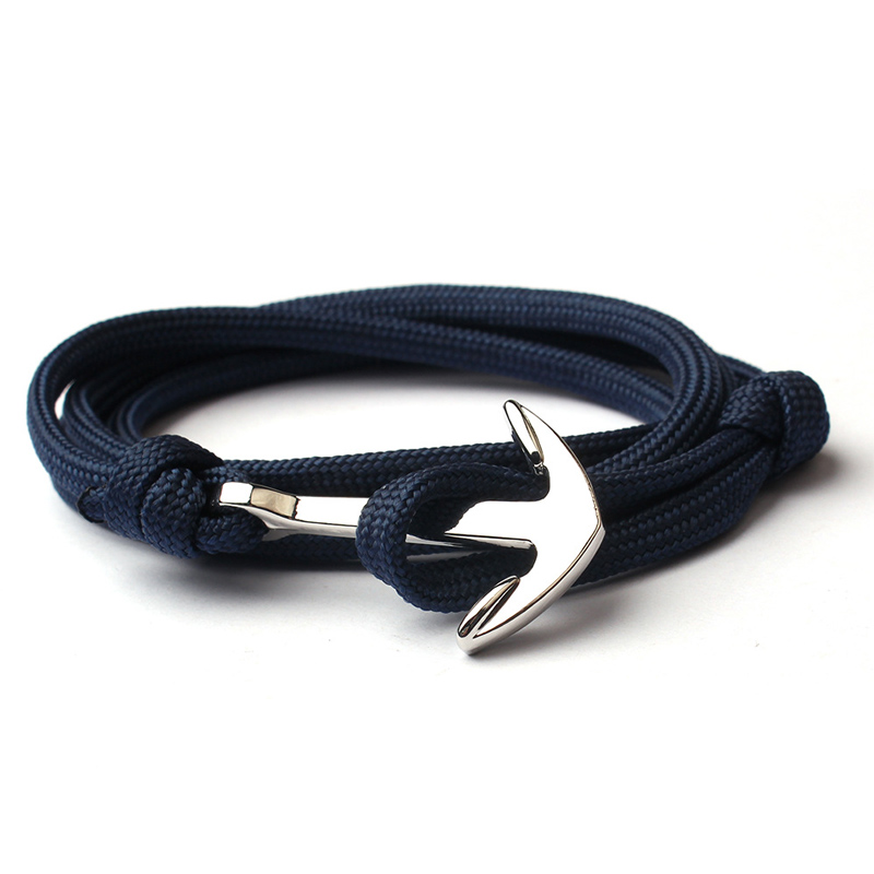 NIUYITID New Navy Blue Bracelet Men Friendship Anchor Bracelet Handmade Multi-layer Nylon Rope Chain Men And Women Jewelry