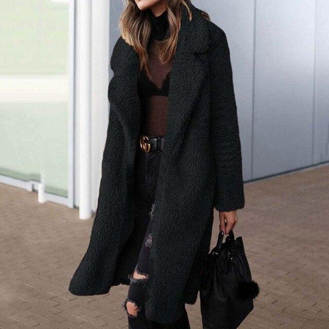 2020 automne Long hiver manteau femme fausse fourrure manteau femmes chaud dames fourrure Teddy veste femme en peluche Teddy manteau grande taille Outwear 3