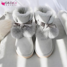 G&Zaco Luxury Genuine Sheepskin Boots Shoes Women Sheep Wool Boots Australia Snow Boots Sweet Bow Fox Flat Fur Winter Boot Shoes