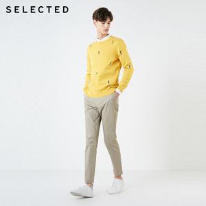 Image 2 - Мужской трикотажный пуловер из 100% хлопка с вышивкой животных, одежда для свитера C
