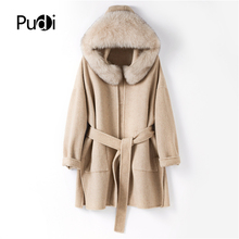 PUDI TX205602 women plus size 90% genuine wool fur10% cashmere winter coat lady elegant fox fur collar cuff jacket overcoat cape pudi a59360 women winter 30