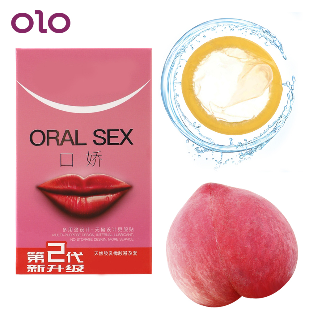 OLO 10pcs/box Oral Sex Condoms With Peach Taste Blowjob Natural Latex Condoms Safe Sex Penis Sleeve Sex Toys for Couples