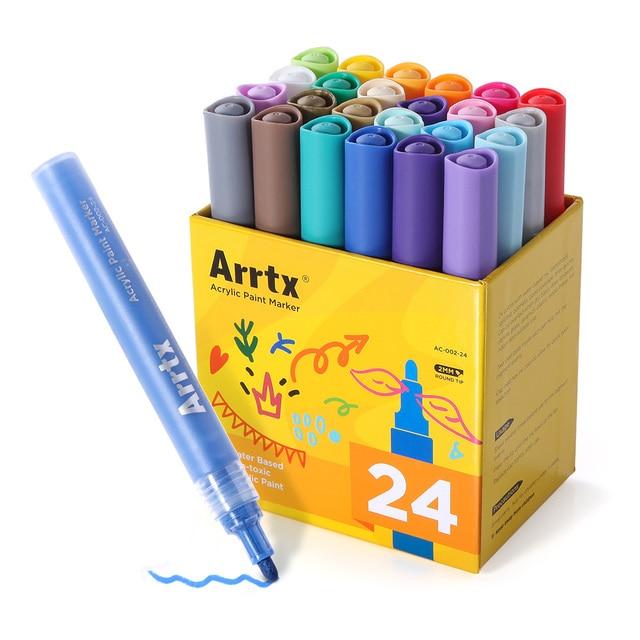 Arrtx caneta marcadora de tinta, 24 cores conjunto de acrílico permanente, diy, caneta de marcador de tinta, selvagem, vidro, cerâmica pintura de madeira