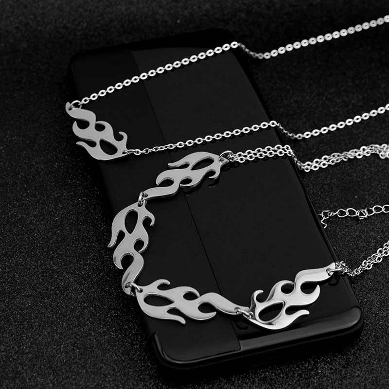 2020 styl Harajuku Punk Hip Hop płomień Choker naszyjnik łańcuch modne naszyjniki regulowany dla mężczyzn kobiety biżuteria imprezowy streetwear