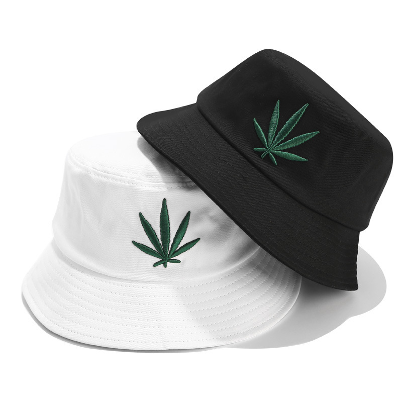 Men Women Maple Leaf Bucket Hat Hip Hop Fisherman Panama Hats Embroidery Cotton% Outdoor Summer Casual Bucket Cap