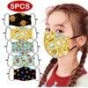 5pcs Kids Children Masks Outdoor Cotton Mouth Dustproof Face Masks Reusable Cute Anime Cartoon Pattern Mask For Kids Children #z 1