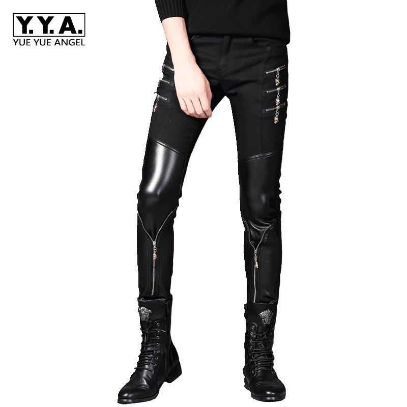 Spring Korean Style Mens Black Leather Pants Faux PU Leather Motorcycle Skinny Personalized Zipper ROCK Hombre Pencil Pants