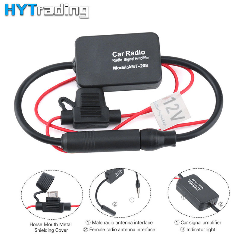 12V Universal Car FM Radio Aerial Antenna Signal Reception Amp Amplifier Booster High Quality Auto Car Replacement Parts