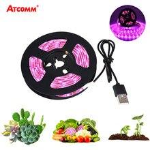 USB светодиодный светильник для выращивания полный спектр 5 в 1 м 2 м светодиодный светильник для выращивания Фито лампа для растений семена т...