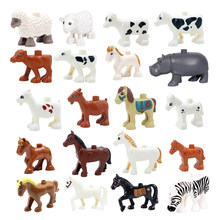 Big Building Blocks cute Animals Accessories Cow horse sheep Model Compatible Duplo Farm Assemble Educational Toys For children(China)