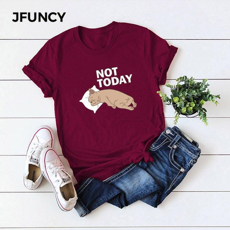 JFUNCY 2019 Summer Cotton T-shirt WomenShort sleeve Print T shirt Tops S-5XL Plus Size Casual Tee